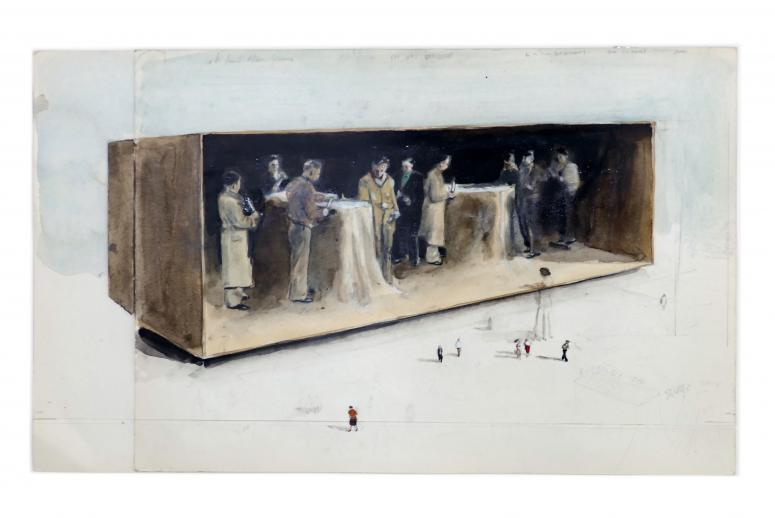 Michaël Borremans, The Cutters (2004), courtesy Michael Borremans