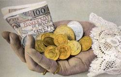 Hand with belgian francs